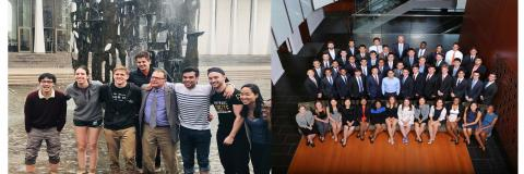 Two pictures of The Class of 2018 with some in the fountain smiling and a professional photo of the whole class seated.