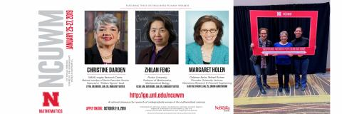 Poster of University of Nebraska Plenary Speakers and picture of Holen with speakers