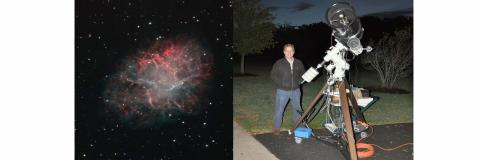 Prof. Vanderbei outside with large telescope and a picture of crab nebula.